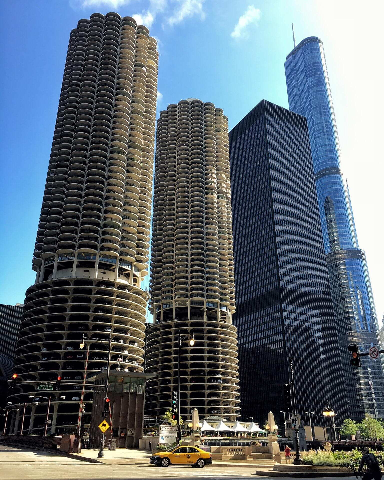 marina towers - from dearborn and wacker - taken with iphone on bike